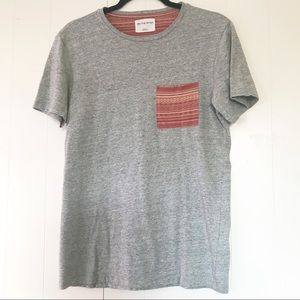 4/$25 On The Byas orange boho Graphic pocket tee